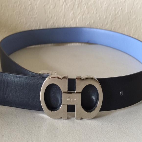 Reversible Leather Belt Sky